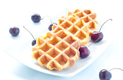 Waffle with ice cream , chocolate and cherries belgium Stock Images