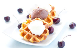 Waffle with ice cream , chocolate and cherries belgium Royalty Free Stock Image