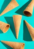 Waffle Ice Cream Cones on a Solid Background with Fashion Lighting. Waffle Ice Cream Cones on a Solid Background with Harsh Lighting royalty free stock photography