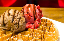 Waffle with ice cream Stock Images
