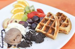 Waffle with ice cream and fruit Stock Image