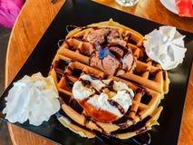 Waffle ice cream greek style chocolate. 1 Stock Photography