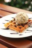 Waffle with ice-cream ice cream vanilla chip Royalty Free Stock Image