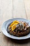Waffle with ice cream and orange Stock Photos
