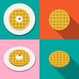 Waffle with ice cream on plate in flat style Stock Photo