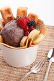 Waffle with ice cream Stock Image
