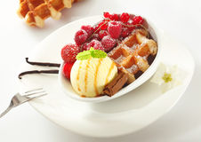Waffle with icecream and berries Royalty Free Stock Photos