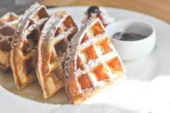 Waffle with icing sugar. And blueberry dip Stock Images