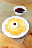 Waffle with jam Stock Photography
