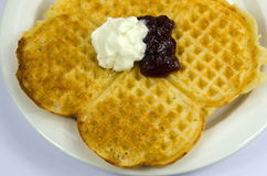 Waffle with jam and cream Royalty Free Stock Photography