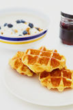 Waffle with jam on white Royalty Free Stock Image