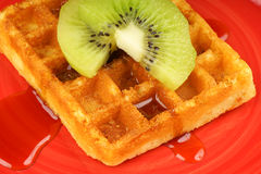 Waffle with kiwi fruit and syrup Stock Images