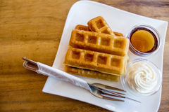 Waffle with maple syrup Stock Photography