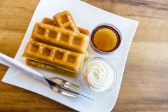 Waffle with maple syrup Royalty Free Stock Photos