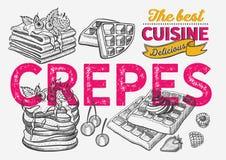 Waffle, pancake, crepe illustration for bakery. royalty free illustration