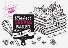 Waffle, pancake, crepe illustration for dessert bakery royalty free stock photo