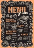 Waffle and pancake menu for restaurant with frame of hand-drawn royalty free illustration
