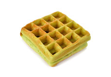 Waffle with pandan leaves flavor on white Stock Photography