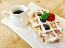 Waffle on a plate stock photography