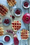 Waffle And Pomegranate Royalty Free Stock Photo