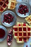 Waffle And Pomegranate Seeds Royalty Free Stock Photography