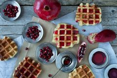 Waffle With Pomegranate Sorbet Royalty Free Stock Image