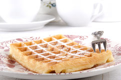 Waffle with powdered sugar Royalty Free Stock Image
