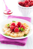 Waffle with raspberries Royalty Free Stock Image
