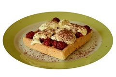 Waffle with raspberry. On the plate Royalty Free Stock Photo