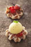 Waffle with redcurrants and icecream Royalty Free Stock Photography