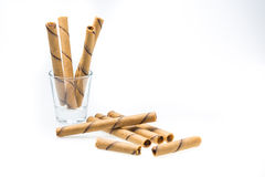 Waffle rolls flavored coffee. Royalty Free Stock Photo