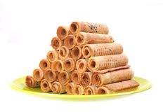 Waffle rolls Royalty Free Stock Photo
