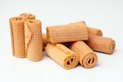 Waffle rolls standing Stock Photo