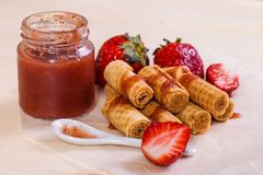 Waffle rolls with strawberry jam Royalty Free Stock Photo