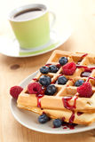 Waffle saboroso com frutas Imagens de Stock