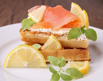 Waffle and salmon Royalty Free Stock Photo