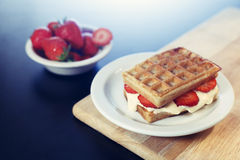 Waffle sandwich with caramel ice cream dessert Stock Photography