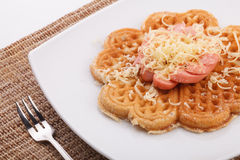 Waffle with sauce Stock Photo