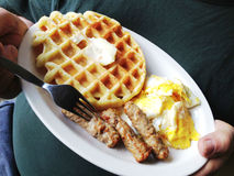 Waffle, sausage, scrambled eggs Stock Photography