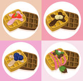 Waffle set chocolate syrop and banana and fruits flavor Vector icon template retro style dotted background. S Royalty Free Stock Image