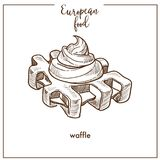 Waffle sketch icon for European food cuisine cafe dessert menu design. Waffle sketch icon for European food cuisine menu design. Vector retro sketch of wafer or Stock Photos