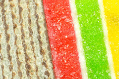 Waffle slices and jelly background Royalty Free Stock Image