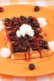 Waffle with soft fruits Royalty Free Stock Images