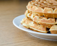 Waffle Stack. A closeup shot of a stack of golden brown waffles stock photo