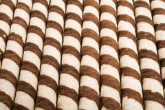 Waffle sticks with chocolate. On white background Royalty Free Stock Photography