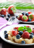 Waffle with strawberries royalty free stock photography