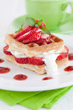 Waffle with strawberries Royalty Free Stock Photos