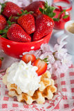 Waffle with strawberries Stock Photography