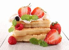 Waffle with strawberries Royalty Free Stock Image