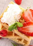Waffle with strawberries Royalty Free Stock Photo
